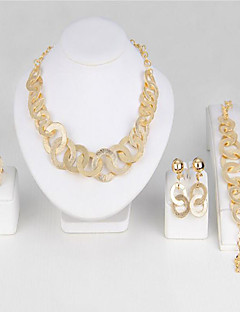 Naisten Morsiamen korut setit jäljitelmä Diamond Muoti Vintage pukukorut Gold Plated Metalliseos Round Shape Käyttötarkoitus Party