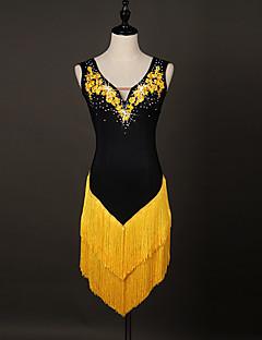 私たちはラテンダンスドレス女性のパフォーマンススパンデックスオーガンザクリスタル/ラインストーン