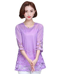 Damen Solide Einfach Anspruchsvoll Ausgehen Lässig/Alltäglich Übergröße Bluse,Rundhalsausschnitt Alle Saisons Kunstseide