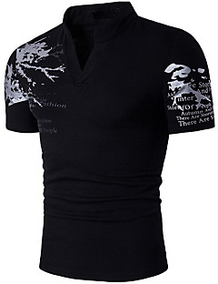 Men's Sports Going out Casual/Daily Simple Street chic Active Spring Summer T-shirt,Solid Geometric Print Round Neck Short SleeveCotton