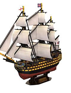 Puzzle Sada na domácí tvoření 3D puzzle Stavební bloky DIY hračky Válečná loď Přírodní dřevo