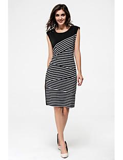 여성 바디콘 드레스 파티 클럽 줄무늬 컬러 블럭,보트넥 무릎 위 민소매 모달 여름 중간 밑위 스트레치 얇음