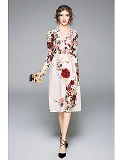 Damen Hülle Kleid-Lässig/Alltäglich Solide Blumen V-Ausschnitt Knielang Langarm Polyester Herbst Mittlere Hüfthöhe Mikro-elastisch Mittel
