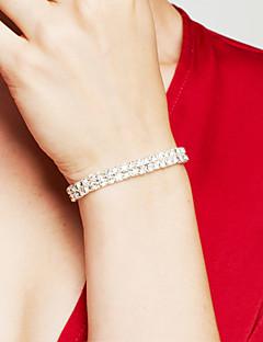 Dame Charm-armbånd Rhinsten Rhinsten Elegant Brude luksus smykker kostume smykker Dobbeltlags Sølvbelagt Simuleret diamant Firkantet form
