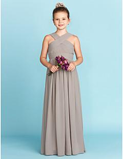 A-Şekilli Prenses V-Yaka Yere Kadar Şifon Çocuk Nedime Elbisesi ile Kurdeleler Haç tarafından LAN TING BRIDE®