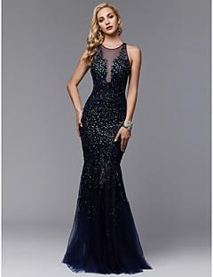 A sirena Con decorazione gioiello Lungo Di pizzo   Tulle Brillante e  glitterato   See Through Serata formale Vestito con Perline   Con applique    A pieghe ... 097622c4335