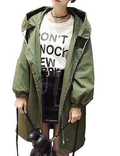 6292b1b1143 여성용 일상 긴 트렌치 코트, 솔리드 후디 긴 소매 면 / 폴리에스테르 블랙 / 아미 그린 / 카키 XL / XXL / XXXL