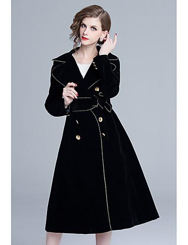 a1ca36b6098 여성용 일상 스트리트 쉬크 긴 트렌치 코트, 솔리드 접히고 젖혀짐 긴 소매 벨벳 블랙 L / XL / XXL