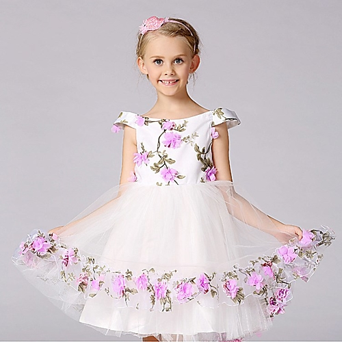 52b661013bb Ball Gown Knee-length Flower Girl Dress - Satin Tulle Polyester Short  Sleeve Off-the-shoulder withBow(s) Flower(s) Pattern   Print Sash