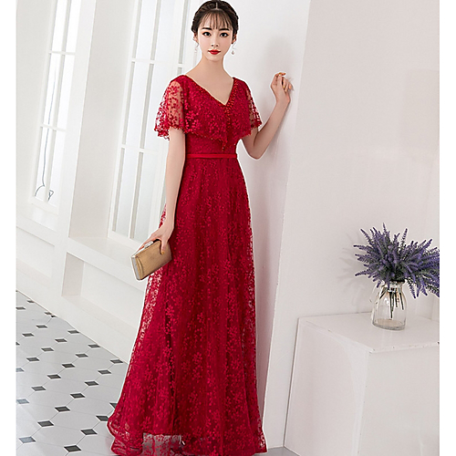 14b61b2089 A-Line V Neck Floor Length Lace Bridesmaid Dress with Appliques by LAN TING  Express