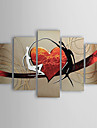 Peint a la main Abstrait Personnage Toute Forme,Moderne Traditionnel Cinq Panneaux Peinture a l\'huile Hang-peint For Decoration