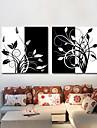 Reproduction transferee sur toile art noir et les branches florales blanc Ensemble de 2