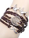 Pentru femei Brățări cu Talismane Bratari din piele Bratari Wrap Design Basic Prietenie Multistratificat Confecționat Manual Personalizat