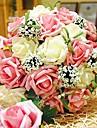 """Flori de Nuntă Rotund Trandafiri Buchete Nuntă Poliester 11.8""""(Approx.30cm)"""