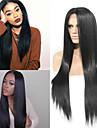 Femme Perruque Synthetique Lace Front Long Raide Noir Ligne de Cheveux Naturelle Au Milieu Perruque Naturelle Perruque Deguisement