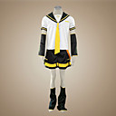preiswerte Videospiel-Kostüme-Inspiriert von Vocaloid Kagamine Len Video Spiel Cosplay Kostüme Cosplay Kostüme Patchwork Kurzarm Top / Ärmel / Gürtel Halloween Kostüme / Satin