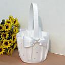 """Χαμηλού Κόστους Καλαθάκια Λουλουδιών-Καλάθι Λουλουδιών Ξύλο / Σατέν 3 1/2"""" (9 εκ) Ακρυλικό / Τεχνητό διαμάντι / Φιόγκος / Ψεύτικο Μαργαριτάρι"""