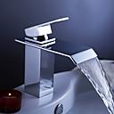 halpa Kylpyhuoneen lavuaarihanat-Nykyaikainen Integroitu Vesiputous Keraaminen venttiili Yksi reikä Yksi kahva yksi reikä Kromi, Kylpyhuone Sink hana