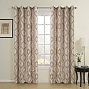 cheap Curtains Drapes-Rod Pocket Grommet Top Tab Top Double Pleat Two Panels Curtain Rococo, Jacquard 100% Polyester Polyester Material Home Decoration