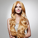 preiswerte Menschen-Synthetische Perücken Damen Wellen Blond Synthetische Haare 26 Zoll Blond Perücke Lang Kappenlos Blond