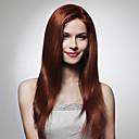 billige Blondeparykker med menneskehår-Rett / Kinky Glatt Remy-hår / Ekte hår 22 tommers Parykk Dame Helblonde Middels Auburn