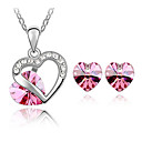 cheap Earrings-Women's Crystal Jewelry Set - Crystal, Austria Crystal Heart, Love Include Red / Green / Blue For Wedding / Earrings / Necklace