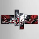 billige Blomster-/botaniske malerier-Håndmalte Abstrakt enhver form, Klassisk Moderne Tradisjonell Hang malte oljemaleri Hjem Dekor Fire Paneler