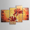 hesapli Manzara Resimleri-El-Boyalı Çiçek/Botanik herhangi Şekli Tuval Hang-Boyalı Yağlıboya Resim Ev dekorasyonu Dört Panelli