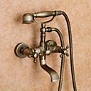 abordables Grifos de Lavabo-Grifo de ducha / Grifo de bañera - Clásico Latón Envejecido Bañera y ducha Válvula Cerámica Bath Shower Mixer Taps / Dos asas de dos agujeros