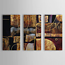 cheap Floral/Botanical Paintings-Oil Painting Hand Painted - Abstract Canvas Three Panels