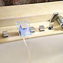hesapli Banyo Küvet Muslukları-Küvet Muslukları - Çağdaş Krom Roma Küveti Seramik Vana Bath Shower Mixer Taps / Pirinç / İki Kolları Beş Delikler
