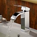 Χαμηλού Κόστους Βρύσες Νιπτήρα Μπάνιου-Μπάνιο βρύση νεροχύτη - Καταρράκτης Χρώμιο Αναμεικτικές με ενιαίες βαλβίδες Μία Οπή / Ενιαία Χειριστείτε μια τρύπα