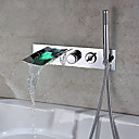 cheap Bathroom Sink Faucets-Bathtub Faucet - Contemporary - LED / Handshower Included / Waterfall - Stainless Steel (Chrome)