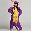 cheap Kigurumi Pajamas-Kigurumi Pajamas Dragon Dinosaur Onesie Pajamas Coral fleece Purple Cosplay For Men and Women Animal Sleepwear Cartoon Halloween Festival / Holiday