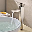 baratos Torneiras de Banheiro-Moderna Pia Válvula Cerâmica Uma Abertura Monocomando e Uma Abertura Níquel Escovado, Torneira pia do banheiro