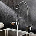 cheap Kitchen Faucets-Contemporary Pull-out/­Pull-down Deck Mounted Pre Rinse Pullout Spray with  Ceramic Valve One Hole Single Handle One Hole for  Chrome ,