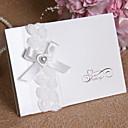 """hesapli Düğün Davetiyeleri-Üstten Katlanır Düğün Davetiyeleri Davet Kartları Çiçek Tarzı Kart Kağıdı İnci Kağıdı 6 ¾""""""""×6"""" (17*15cm) Taşlı İnci Kurdeleler Çiçekli"""
