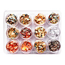 cheap Rhinestone & Decorations-12pcs mixed color foil nail art decoration golden silver colorful foil