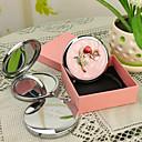 preiswerte Customized Neuheiten-Personalisierte Geschenke Blossom Art-Rosa Chrome Taschenspiegel