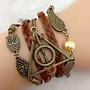 cheap Bracelets-Layered Leather Bracelet - Leather Owl, Wings, Infinity Personalized, Casual, Leather Bracelet Brown For Party / Gift / Daily