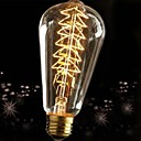 baratos Incandescente-1pç 60W E27 E26/E27 ST64 2300 K Incandescente Vintage Edison Light Bulb AC 220V AC 220-240V V