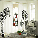 cheap Sheer Curtains-Two Panels Curtain Designer, Print Animal Bedroom Linen / Cotton Blend Material Curtains Drapes Home Decoration