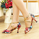 olcso Latin cipők-Női Latin cipők / Báli Bőrutánzat Magassarkúk Csat / Virág Személyre szabott sarok Személyre szabható Dance Shoes Fekete / Fukszia
