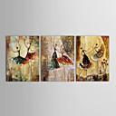 preiswerte Wand-Sticker-Handgemalte Menschen Horizontal Panorama Segeltuch Hang-Ölgemälde Haus Dekoration Drei Paneele