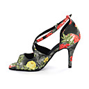 cheap Women's Heels-Women's Latin Shoes Leatherette Sandal Buckle Chunky Heel Customizable Dance Shoes Multi Color / Leopard