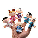 cheap Puppets-Family Finger Puppets Puppets Cute Lovely Novelty Plush Girls' Toy Gift 6 pcs