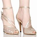povoljno Cipele za latino plesove-Žene Plesne cipele PU Leather / Saten Cipele za latino plesove / Cipele za salsu Kopča Sandale Potpetica po mjeri Moguće personalizirati Grey / Nude / Crna / EU41
