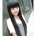 preiswerte Anime Cosplay Zubehör-Synthetische Perücken Glatt Mit Pony Synthetische Haare 20 Zoll Perücke Damen Kappenlos Dunkelbraun