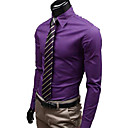olcso USB-Uyuk Férfi Purple Stand nyakörv Hosszú ujjú alkalmi stílusban póló