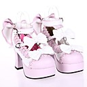 baratos Perucas Lolita-Sapatos Doce Princesa Salto Alto Sapatos Laço 7.5 CM Branco Rosa claro Para Couro PU/Couro de Poliuretano